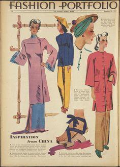 20 Dec 1941 - The Australian Women's Weekly 40s Asian looks vintage fashion style coat dress jacket pants hat scarf shoes sandals wood pajamas qipao chongsam pants Chinese Singapore looks
