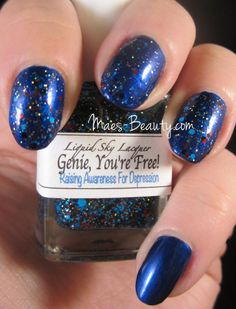 Depression awareness mani with LE Liquid Sky Lacquer's Genie, You're Free! polish in tribute of Robin Williams