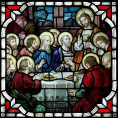 Stained glass window insert of the Last Supper created for St. Rocco Church in Avondale, PA Pennsylvania Area Stained Glass Projects Stained Glass Church, Stained Glass Paint, Stained Glass Projects, Stained Glass Windows, Catholic Art, Religious Art, Religious Icons, Mosaic Glass, Glass Art