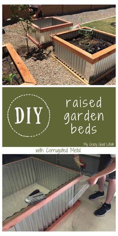 I love my DIY raised garden beds! They're the perfect easy garden box for someone who is new to growing vegetables at home. I grow zucchini, tomatoes, and peppers in my raised vegetable garden or planter box! DIY Raised Garden Beds with Corrugated Metal Garden Bed Layout, Diy Garden Bed, Garden Boxes, Easy Garden, Garden Ideas, Metal Raised Garden Beds, Raised Garden Bed Plans, Building Raised Garden Beds, Raised Beds
