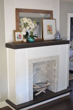5 Adventurous Tips: Small Fireplace Christmas fireplace design before after.Transitional Fireplace Design fireplace design before after.Fireplace Built Ins Basements. Fake Fireplace, Fireplace Mantels, Cottage Fireplace, Fireplace Decorations, Electric Fireplace, Fireplace Bookcase, Mantles, Fireplace Ideas, Fireplace Design