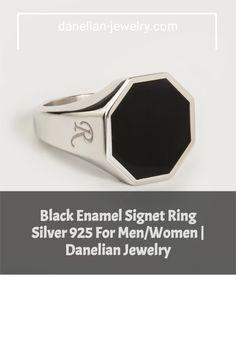 Black Enamel Signet Ring Silver 925 For Men/Women | Danelian Jewelry Signet Ring, Silver Man, Jewelries, Black Enamel, Making Out, Men Fashion, Band Rings, Invite, Amethyst