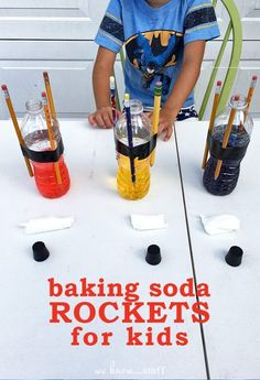 To Make Baking Soda Rockets For Kids Sometimes the easiest science experiments are the best! Check out this easy science project: baking soda rockets for kids!Best Best or The Best may refer to: Science Week, Summer Science, Easy Science Experiments, Science Party, Preschool Science, Science Fair, Science For Kids, Earth Science, Physical Science