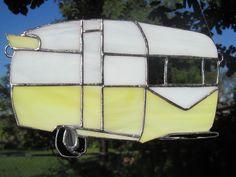 Classic yellow trailer stained glass suncatcher, Vintage suncatcher, Retro design