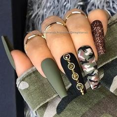 ✨ Matte Olive-Green, Black with Crystals, Camo Pattern and Bronze Glitter on l. Adrian Anthony Hair ncclip matte nails ✨ Matte Olive-Green, Black with Crystals, Camo Pattern and Bronze Glitter on long Coffin Nails ✨? Acrylic Nails Coffin Matte, Matte Black Nails, Coffin Nails Long, Stiletto Nails, White Nails With Glitter, Long Black Nails, Colored Acrylic Nails, Nail Black, Black And White Nail Designs
