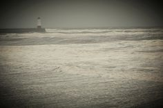 Lighthouse on Berwick upon Tweed Pier on Stormy January Day