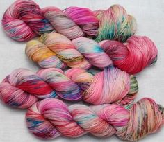Hand Dyed Yarn, Orange, Yellow, Coral, Stitch, Pink, Full Stop, Pink Hair, Sew