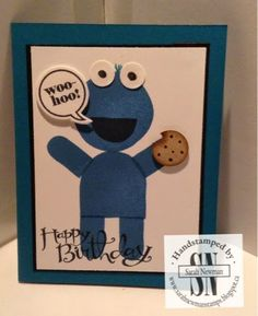 Stampin' with Sarah Newman Cookie Monster card. What's your type stamp set Stampin up Sesame Street, Greeting Cards, cookies,