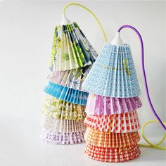 lampshade with colored cable