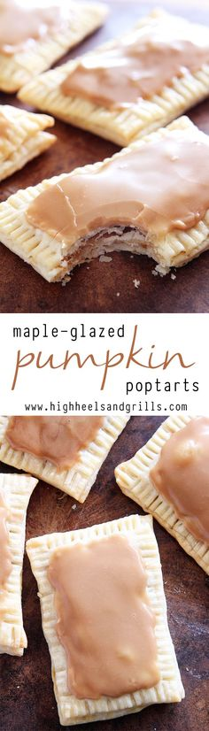 These Maple-Glazed Pumpkin Poptarts Recipe are made with pie crust, stuffed with a maple and pumpkin filling, and topped with a delicious maple glaze. You'll never want a store-bought poptart again! Yummy Treats, Sweet Treats, Yummy Food, Köstliche Desserts, Dessert Recipes, Fall Recipes, Holiday Recipes, Healthy Pumpkin Recipes, Summer Recipes