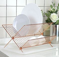 Deluxe Chrome-plated Steel Foldable X Shape 2-tier Shelf Small Dish Drainers with Drainboard (Gold Copper) Neat-O by Hopeful