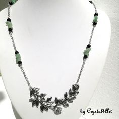 A green aventurine and onyx gems statement necklace suitable to give originality of your casual outfits. See more of my creations on Green Aventurine, Jewerly, Arrow Necklace, Casual Outfits, Gems, Silver, Handmade, Green, Jewlery