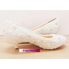 e4e737bdc63c7 Handmade White Pearl Beaded Low Heel Wedding Bridal Pumps Shoes Women  SKU-1090432