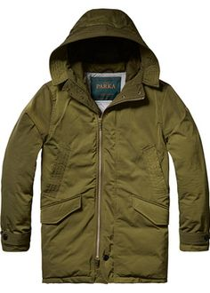 Buy Scotch & Soda Down Parka Jacket with Asymetrical Zip Closure. Free UK Delivery available on all purchases at Dapper Street. Fashion Wear, Fashion Outfits, London Shopping, Down Parka, Scotch Soda, Mens Clothing Styles, Dapper, Military Jacket, Rain Jacket