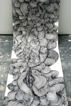 Line drawings by Sky Kim: endless, voluptuous, billowing form. :: lovely, i can't wait to draw something like this and i would install it exactly like this, part of it being on the floor! <3