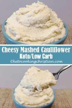 Cheesy Mashed Cauliflower - Keto and Low Carb Need a quick easy side that is also loaded with healthy fats? These are simple to make and can be made in under 15 minutes. This mashed cauliflower is cheesy creamy and absolutely delicious! Cauliflower Mashed Potatoes Keto, Califlower Mashed, Cauliflower Ideas, Cauliflower Pizza, Low Carb Diet Plan, Low Carb Keto, Low Carb Recipes, Paleo Recipes, Keto Side Dishes