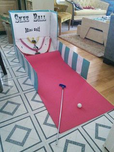 Skee ball minigolf game. Made from a cardboard box. Fun for party's!