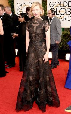 2014 Golden Globes - Red Carpet - Cate Blanchett (D) in Armani. Too busy and frilly for D,