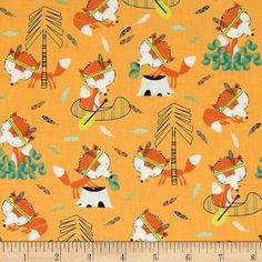 Camelot Fabrics - Let's Go Foxes Light Orange; Designer: Andrea Turk