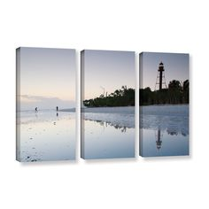 Sanibel Lighthouse by Steve Ainsworth 3 Piece Photographic Print on Gallery Wrapped Canvas Set