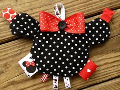 Taggies by Zazalicious...Minnielicious taggie with crinkle...baby girl taggie toy with Minnie Mouse theme on Etsy, $14.95