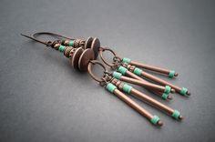rustic tribal earrings • African vinyl • bone beads • copper • hand forged • artisan • boucles d'oreilles rustique ethnique • entre2et7