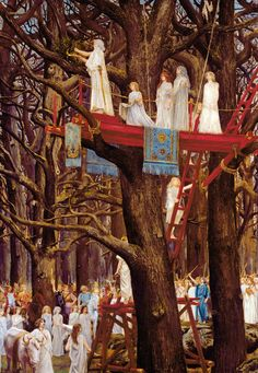 Druids Cutting the Mistletoe on the Sixth Day of the Moon (oil on canvas) 1895, Henri-Paul Motte . http://www.leicestergalleries.com/19th-20th-century-paintings/d/henri-paul-motte/15049