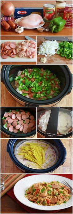 Slow Cooker Cajun Chicken Spaghetti Recipe ~ Andouille sausage, chicken, fire-roasted tomatoes, bell pepper, garlic, and Creole seasoning are just are few of the Southern flavors that combine to make this a delicious and hassle-free meal. 5 minutes of prep time and the slow cooker does the rest for you