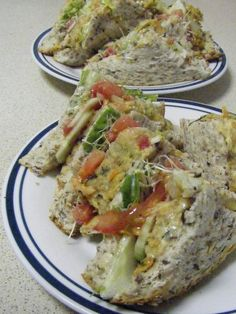 Vegge and Salad Sandwich, we are eating healthy!