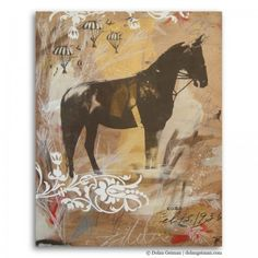 Horse with Parachutes, Wooden Sketchbook Collection, mixed media #art by Dolan Geiman