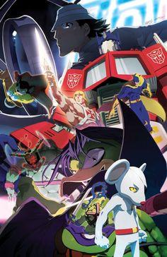 DangerMouse Mighty Mouse He-man Leonardo Bananaman Count Duckula Optimus Prime y el Inspector Gadget.