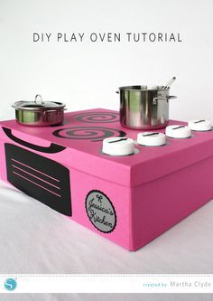 DIY Play Oven box. Great for play, storage, and serves as a gift box. Created by Martha Clyde