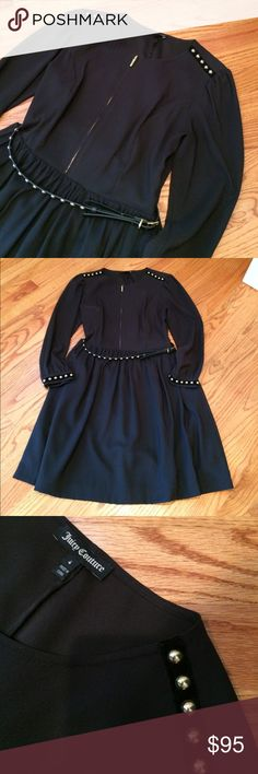 Juicy black Fit & Flare dress Excellent condition!  Cute black dress with gold zipper on chest and gold nubs on the shoulders, wrist and on belt at waist.  Velvet trim at shoulder and wrists.  Very flattering, fit and flare. Juicy Couture Dresses Long Sleeve