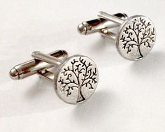 Pair of Men's Small Silver Metal Circle Tree of Life Cufflinks, 12mm Handcrafted Cuff Links by RWH on Etsy, $16.99