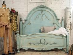 Painted Cottage Chic Shabby Aqua Queen Romance Bed for the girls.