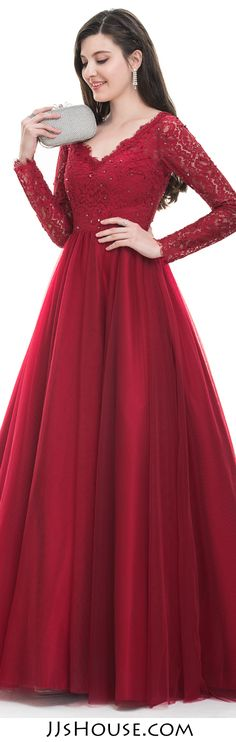 Very Popular New Arrivals 2017. Ball-Gown V-neck Floor-Length Tulle Prom/Evening Dress With Beading Sequins #JJsHouse