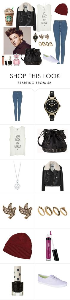 """Starbucks with Louis *-*"" by lariissa-1d ❤ liked on Polyvore featuring Justin Bieber, Topshop, FOSSIL, DK, Forever 21, Acne Studios, Warehouse, DesignSix, Patagonia and Bare Escentuals"