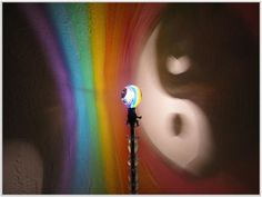 The ORIGINAL Hand-Painted Yin/Yang Rainbow Mood-Light Bulb 4 Color Therapy, Night Lights, Parties, Mood Lighting