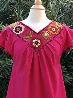 Top bordado blusa blusa mexicana Boho superior ropa Chiapas