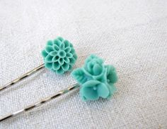 Duo flower cabochon bobby pins by PrettyViolets on Etsy, $8.00