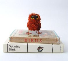 Owl Baby Needle Felted Bird Cute and Fluffy Gingersnap Orange Dyed Wensleydale Wool