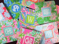 Lilly Pulitzer monogrammed disposable coasters