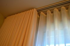 Double Track Detail of Ripplefold drapery with Sheers