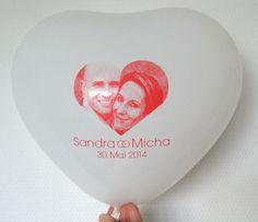 #Hochzeit #Ballon #bedruckt mit #Foto und #Datum