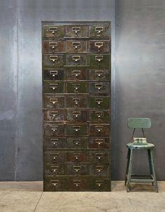 Monolithic Steel Industrial Cabinet : 20th Century Vintage Industrial Modern50 Style