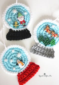 Crochet SnowGlobe Ornaments - Repeat Crafter Me, # Crochet . Crochet SnowGlobe ornaments - repeat Crafter Me Always wanted to discover how to knit, nonetheless uncertain where to be. Crochet Christmas Decorations, Crochet Christmas Ornaments, Christmas Crochet Patterns, Holiday Crochet, Crochet Gifts, Crochet Things, Christmas Knitting, Tree Decorations, Christmas Ideas