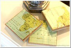 map coasters DIY