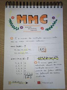 #mmc #múltiplos #matemática #aritmética #dicas #resumos Life Hacks For School, School Study Tips, Study Organization, Study Planner, Basic Math, Lettering Tutorial, Bullet Journal Ideas Pages, Study Inspiration, Study Motivation