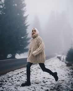 Eerie glow and @alinaceusan in our #chunkygiant Read her related article and shop our Knitwear at #ioanaciolacu.com