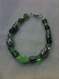 Green and silver beaded bracelet by jeannare on Etsy, $10.00
